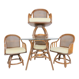 edgebrookhouse - 1950s Ficks Reed Chippendale Bamboo and Rattan Table and Chairs Dining Set - 5 Pieces