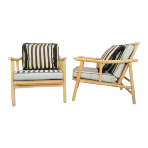 edgebrookhouse - 1950s John Wisner for Ficks Reed Campaign Rattan Lounge Chairs - a Pair