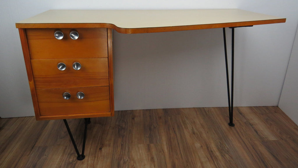 Image of: 1950s Mid Century Modern Mengel Writing Desk On Hairpin Legs Edgebrookhouse