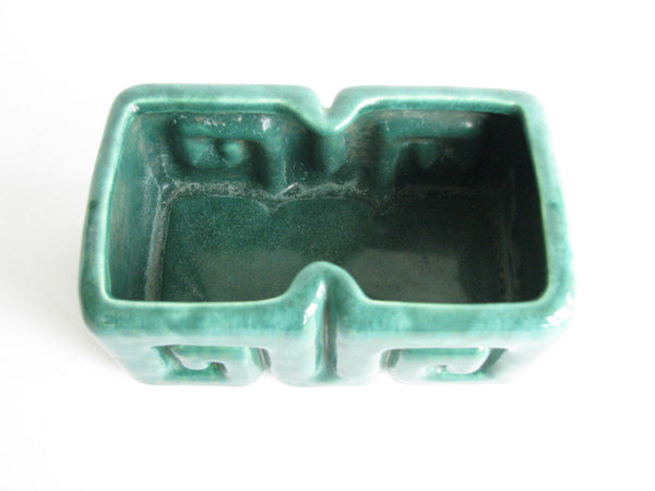 edgebrookhouse - 1950s Gonder Ceramic Arts Rectangular Forest Green Planter with Grecian Key Design