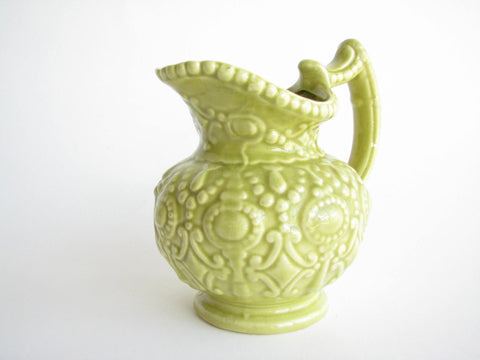 edgebrookhouse - 1950s Green Camark Pottery Pitcher Embossed with Baroque Style Design