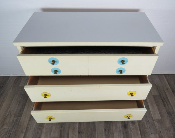 edgebrookhouse - 1960s vintage white bachelors chest with interchangeable color discs