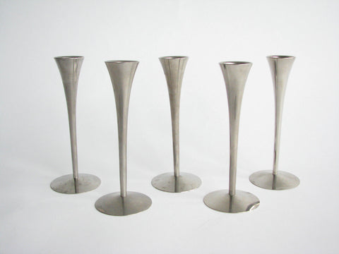 edgebrookhouse - 1960s Arthur Salm Solingen Brushed Stainless Steel Candle Holders - Set of 5