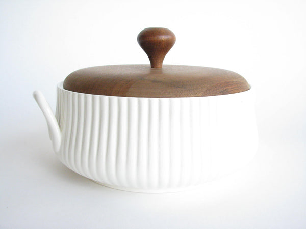 edgebrookhouse - 1960s Ernest Sohn Creations Ceramic Casserole Serving Dish with Teak Lid
