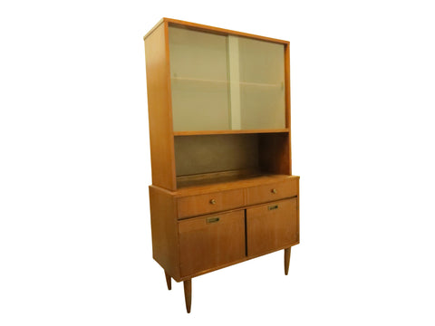 edgebrookhouse - 1960s Mid-Century Modern Walnut Hutch Cabinet With Sliding Glass