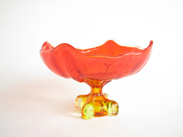 edgebrookhouse - 1960s Viking Epic Four Foils Square Amberina Glass Footed Dish