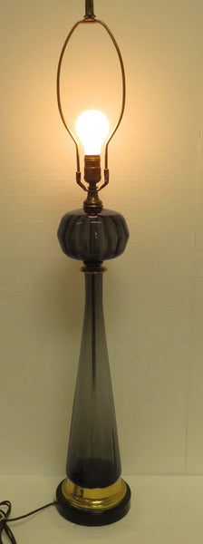 edgebrookhouse - 1960s Tall Murano Gray Blown Glass and Brass Table Lamp