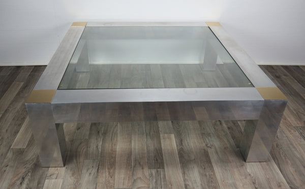 edgebrookhouse - 1970s Hollywood Regency Paul Evans Style Aluminum and Brass Parsons Coffee Table
