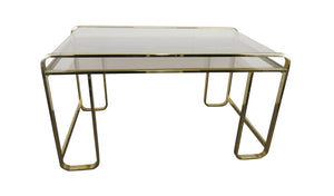 edgebrookhouse - 1970s Vintage Brass and Smoked Glass Pierre Cardin Desk for Design Institute of America