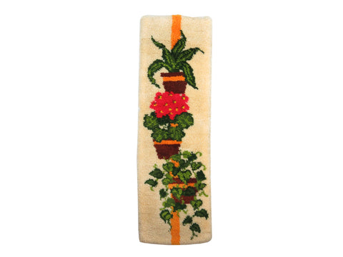 edgebrookhouse - 1970s Potted Green Plants Latch Hook Wall Art