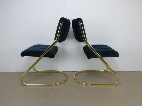 Amazing 1970S Brass Cantilever Dining Side Chairs By Douglas Furniture Set Of 4 Machost Co Dining Chair Design Ideas Machostcouk