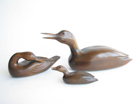 edgebrookhouse - 1980s Collection of Hand-Carved Solid Walnut Ducks by Wallace Palubinski - 3 Pieces