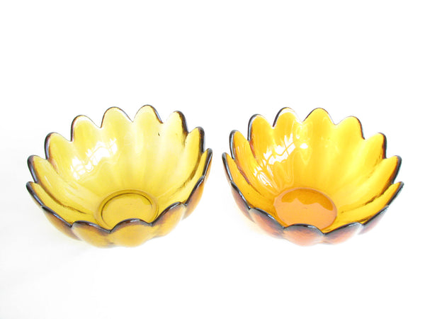 edgebrookhouse - Vintage Large Amber or Topaz Blenko Glass Petal Bowl Designed by Wayne Husted