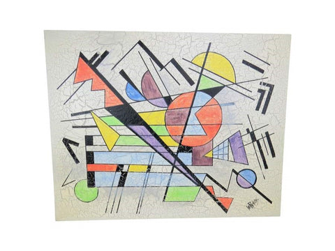 1980s Lee Reynolds Large Abstract Painting in the Style of Wassily Kandinsky