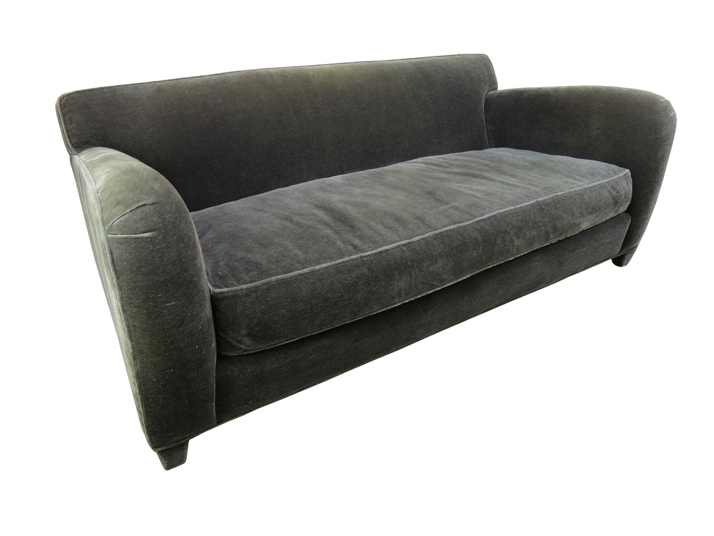1980s Donghia Gray Mohair Down Art Deco Style Two Seater Club Sofa Edgebrookhouse