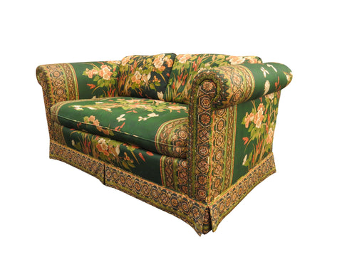 edgebrookhouse - 1980s Drexel Loveseat With Bright Emerald Green and Gold Fabric, Floral and Bird Motif