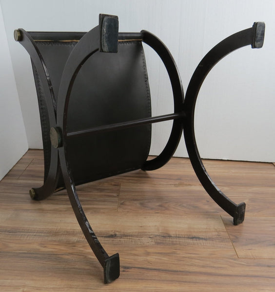 edgebrookhouse - Late 19th Century Antique French Empire Wrought Iron, Brass and Leather Stool