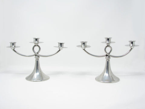 Antique Art Deco Plymouth KS Pewter Candelabra Candle Holders USA - a Pair