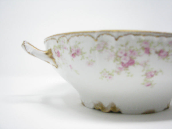 edgebrookhouse - Antique Charles Field Haviland GDA Limoges Floral Porcelain Extra Large Handled Serving Bowl