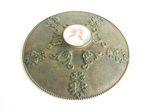 edgebrookhouse - Antique Embossed Gilt Metal Lid with Enamel Painting of Woman