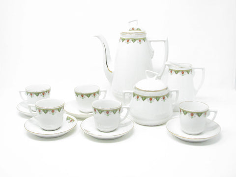 edgebrookhouse - Antique Ginori Porcelain Coffee Tea Set Decorated by Richard-Ginori - 13 Pieces