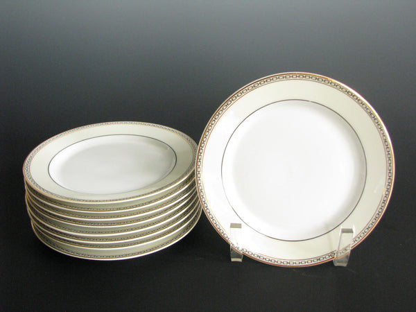 edgebrookhouse - Antique Heinrich & Co Selb Porcelain Bread Plates with Ivory, Gold and Black Link Rim - Set of 8
