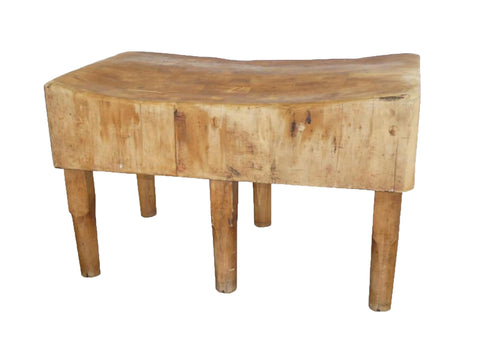 edgebrookhouse - Large Antique Six Legs Butcher Block Table / Kitchen Island by Bally Block Co