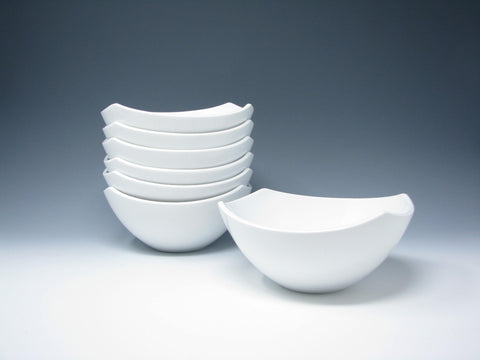 Dansk Classic Fjord White Square Coupe Porcelain Bowls - 7 Pieces