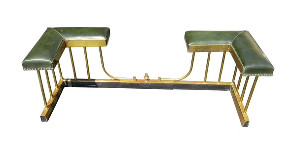 edgebrookhouse - Early 20th Century English Edwardian Style Extendable Brass and Leather Club Fender