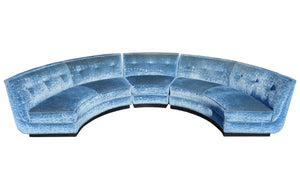 edgebrookhouse - Early 20th Century Semi-Circle Sectional Sofa in Crushed Blue Velvet on Plinth Base - 3 Pieces