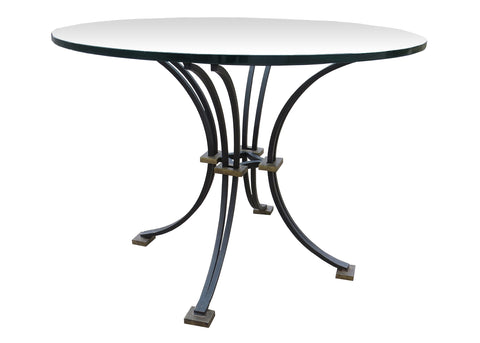 French Art Deco Iron and Gilt Center Table in the Manner of Jacques Adnet and Gilbert Poillerat