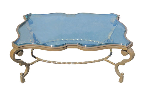 French Art Deco Patinated Iron Coffee Table With Rope Twist in the Manner of Gilbert Poillerat Coffee Table, France, Circa 1942