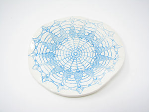 Handcrafted Pottery Decorative Plate or Trinket Dish with Turquoise Net Web Design by ViVi