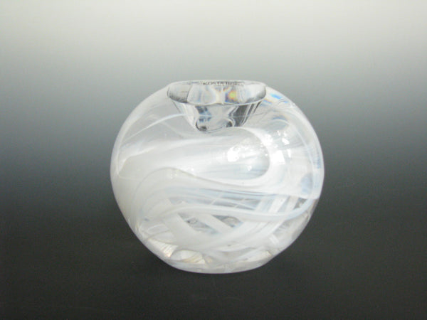 edgebrookhouse - Kosta Boda Cool Moon Glass Tealight Candle Holder White Swirl Design by Anna Ehrner