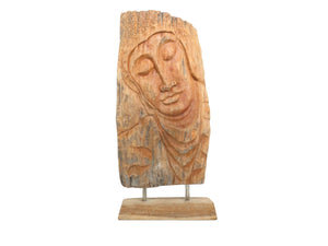 edgebrookhouse - Large 1950s Hand Carved Hardwood Face of Buddha Free-Standing Panel Sculpture