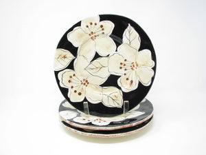 Laurie Gates Kate Salad Plates with Black White Brown Floral Design - 3 Pieces