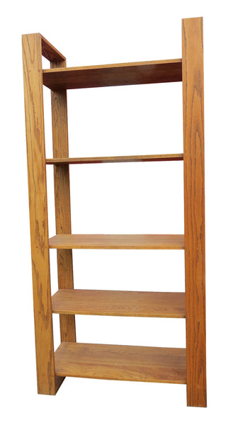 edgebrookhouse - mid century modern solid oak 5 shelf etagere or bookshelf