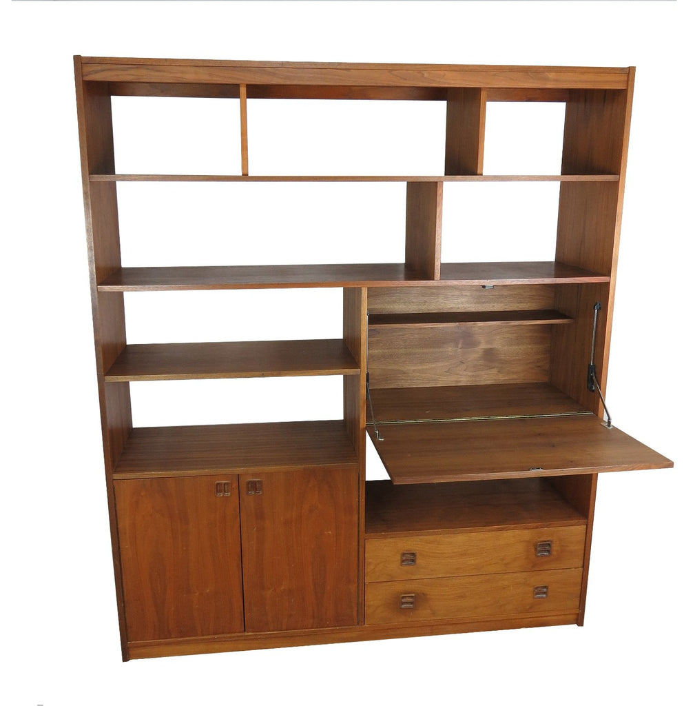 Image of: Mid Century Modern Rosewood Bookcase With Built In Secretary Desk Edgebrookhouse