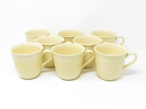 edgebrookhouse - Mikasa Stone Manor Saffron Yellow Mugs with Basket Weave Design - Set of 8