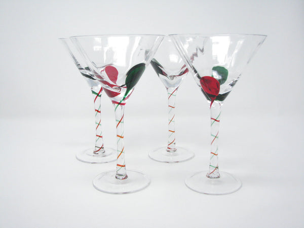 edgebrookhouse - Modern Pier 1 Red and Green Swirl Martini Glasses - Set of 4