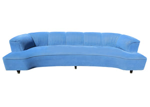 Period 1930s French Art Deco D-Shaped Curved Sofa With Scalloped Back