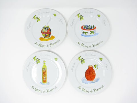 Revol Les Olives de Provence Salad or Bread Dessert Plates - 4 Pieces