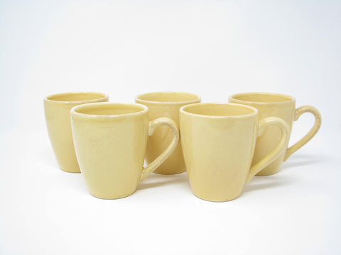 Sur La Table Miel Yellow Stoneware Mugs Made in Portugal - 5 Pieces