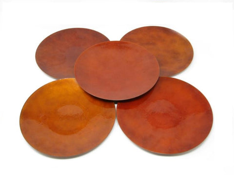Vintage Large Hand-Crafted Blood Orange Enameled Metal Plates - 5 Pieces