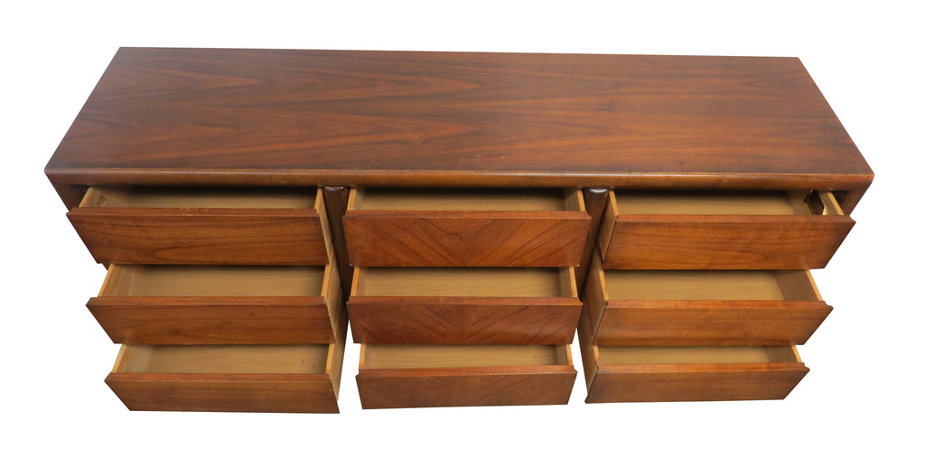 Vintage Rosewood and Walnut 9-Drawer Dresser by Lane Furniture Company