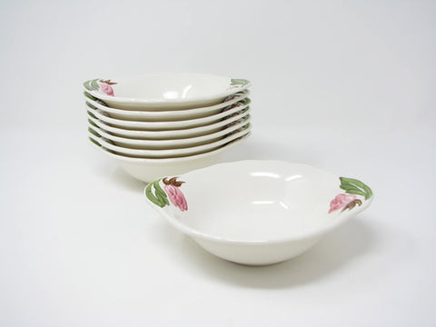 Vintage 1940s Continental Kilns Green Arbor Handled Bowls with Pink Floral Design - 8 Pieces