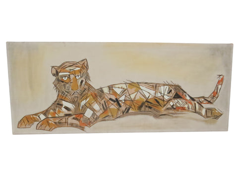 edgebrookhouse - Vintage 1950s Abstract Oil on Burlap of a Laying Tiger in the Style of Robert Flynn