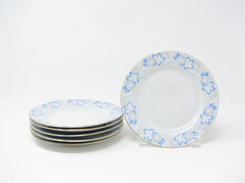 Vintage 1950s Karolina Poland Bread Plates with Blue Gray Floral Design - 6 Pieces