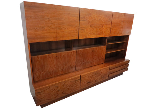 edgebrookhouse - Vintage 1960s German Mid-Century Modern Rosewood 2-Piece Wall Unit or Cabinet