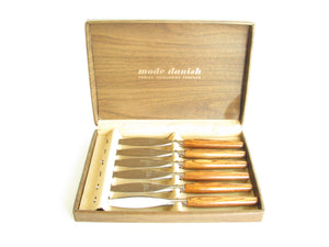 edgebrookhouse - Vintage 1960s Mode Danish Stainless Steel Steak Knife Set by Regent Sheffield - 6 Pieces